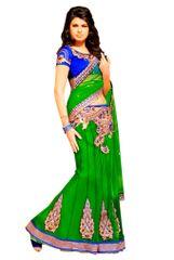 Green Net Lehenga Style Saree SC6012