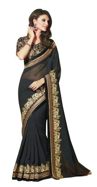 Designer Georgette Black Embroidered Saree SC1302
