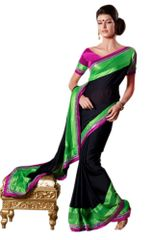 Black green Embellished Crepe saree SC8414A