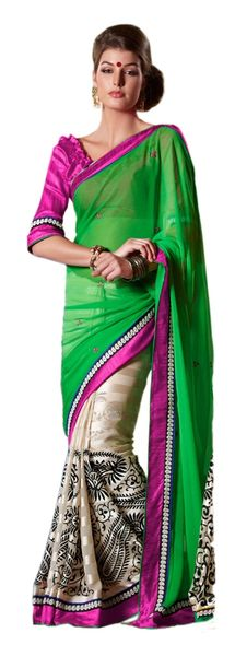 Green off white Embellished Chiffon Georgette saree SC8420B