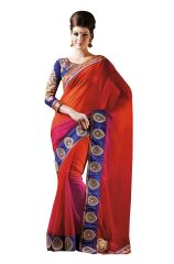 Designer Orange Multi Shaded Georgette Embroidered Saree SC4013