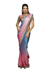 Designer Blue Pink Shaded Georgette Saree with Embroidered Blouse Fabric SC401