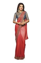 Designer Red Shaded Georgette Saree with Embroidered Blouse Fabric SC403