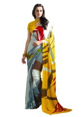 Gray Yellow Abstract Printed Crepe Saree