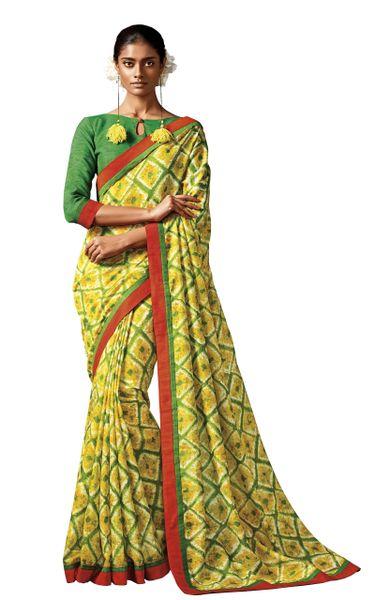 Green Yellow Printed Cotton Silk saree