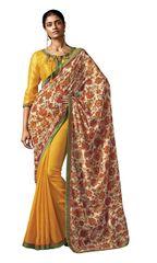 Yellow Brown Floral Print Cotton Silk Saree