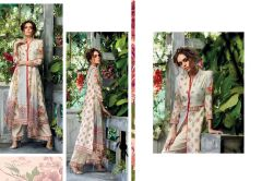 Designer Beige Kora Silk Printed Dress Material with Chiffon Dupatta