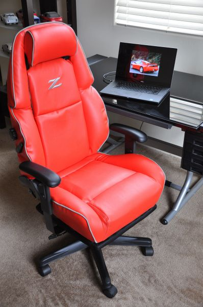 SOLD Thank You! - Nissan 300ZX Custom Faux Leather Power-Operated Office Chair - Red w/ Gray Piping
