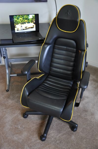SOLD Thank You! - Ferrari 360 Spider Leather Office Chair - Black with Yellow Piping