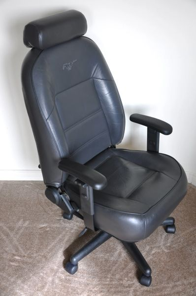 SOLD Thank You! - Ford Mustang Leather Office Chair - Dark Charcoal