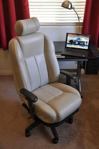 SOLD Thank You! - Jaguar XJR / XJ8 Sport Power-Operated Leather Office Chair - Oatmeal