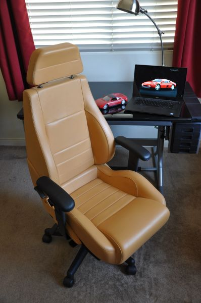 SOLD Thank You! - Ferrari 348 Leather Office Chair - Cuoio