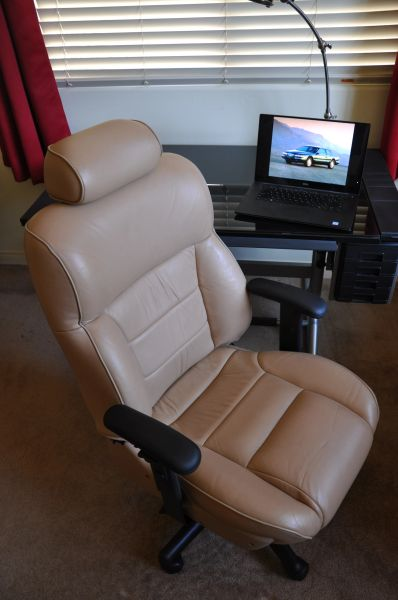 SOLD Thank You! - Mercury Cougar Leather Office Chair - Prairie Tan