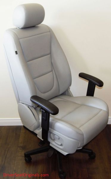 Jaguar XJ8 Power-Operated Leather Office Chair - Dove Gray