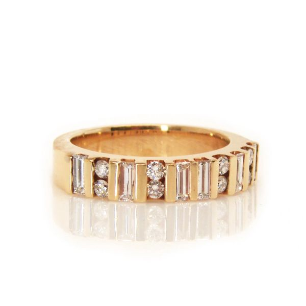 Yellow Gold Round and Baguette Diamond Band