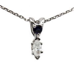 Blue Sapphire and Diamond Drop Pendant