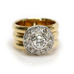 Yellow Gold Diamond Band with Halo