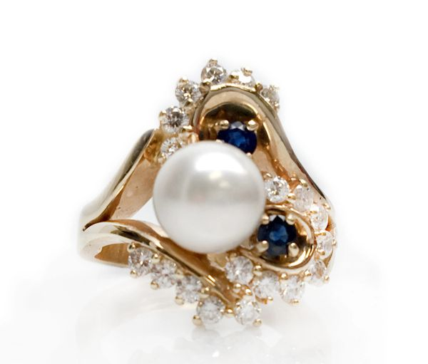 Pearl, Diamond, and Blue Sapphire Ring