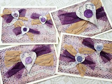 Dragonfly hearts mixed media collage greeting card set (violet & tan)