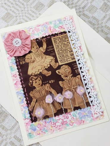 Vintage Catalog Imagery (pink & sepia) mixed media collage