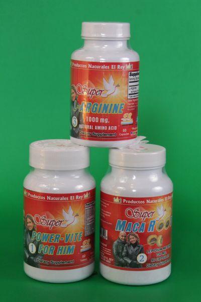 Vitality Package (3) Power-Vite for Him, Maca, L-Arginine