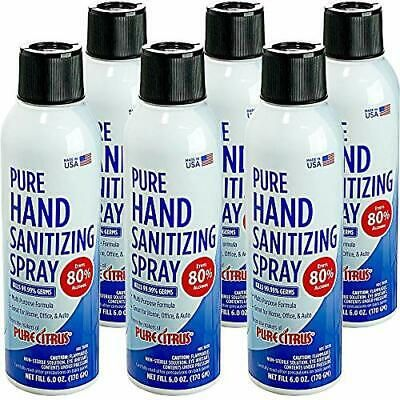 Pure Hand & Surface Sanitizing Spray 6 OZ 80% Ethyl Alcohol (Pack of 6)