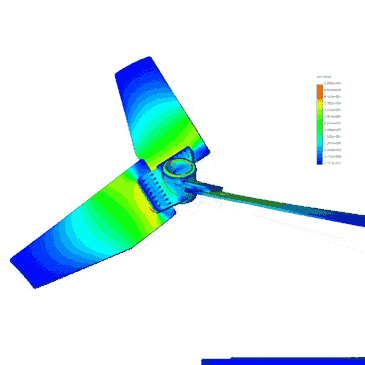 Finite Element Analysis images of impeller, shaft and flanges.