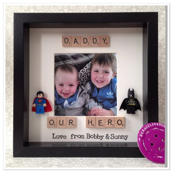 Daddy our/my hero with name personalisation with room to add a photo (please choose two figures )