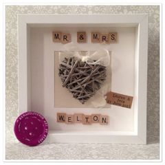 Mr & Mrs wicker heart frame
