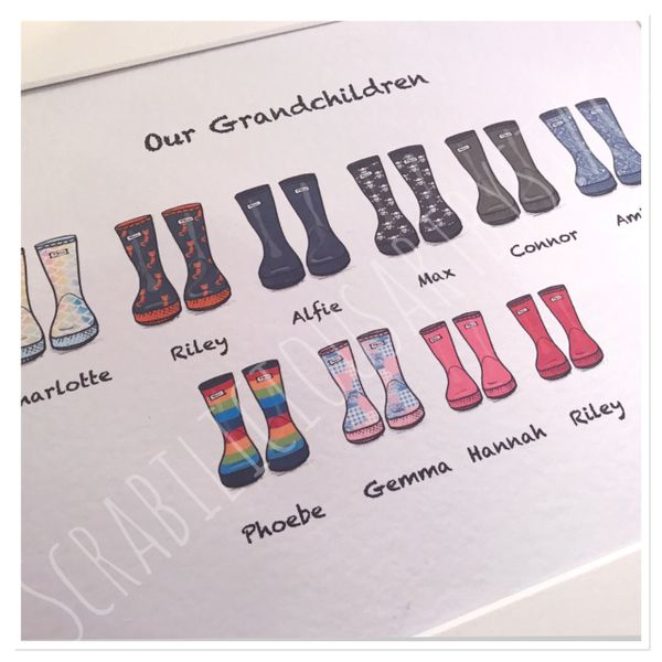Larger Family wellie print A4 print ONLY 7-14 family members including pets (maximum of 7 per row)