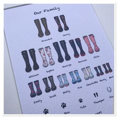 Family tree wellie print (A4 PRINT ONLY) Maximum of 7 wellies per row ....holds up to 28 family members including pets