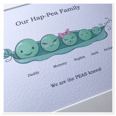 PEAS in a pod family prints (A4 PRINT ONLY) up to 10 peas