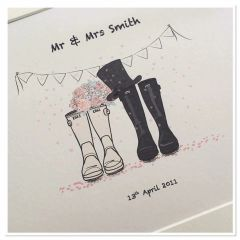 Wedding wellie TOP hat print ( A4 PRINT ONLY)