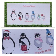 Family Penguin Christmas cards & envelopes pack of 10 (upto 7 family members)