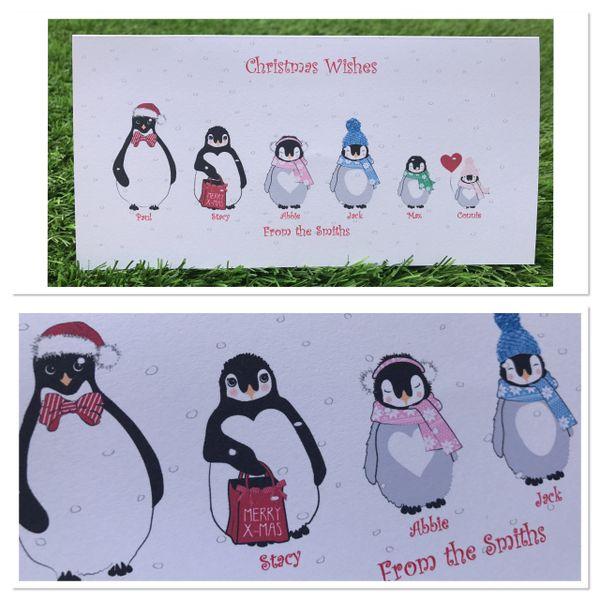 Family Penguin Christmas cards & envelopes pack of 10 (upto 7 family members)