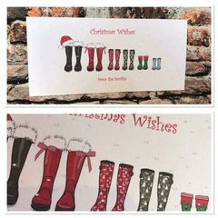 Family wellie Christmas cards & envelopes pack of 10 (upto 7 family members only including pets)