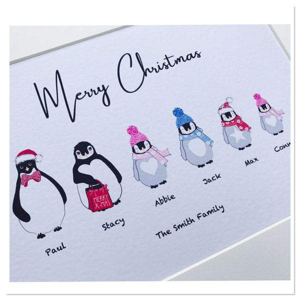 Penguin family print ( A4 print only) up to 7 family members
