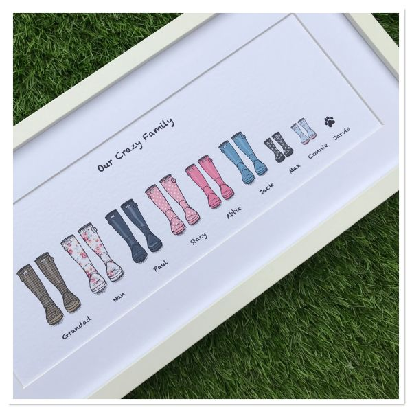 Framed long family wellie print (Holds 12 family members including pets)