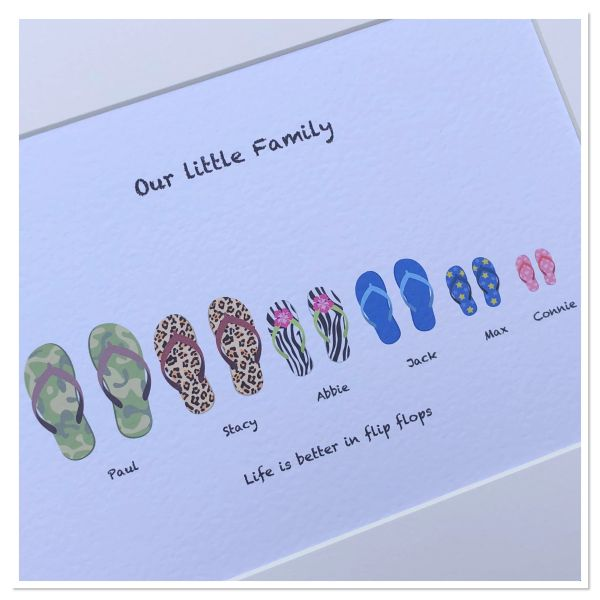 Flip flop family print A4 PRINT ONLY ( holds a maximum of 7 family members including pets )