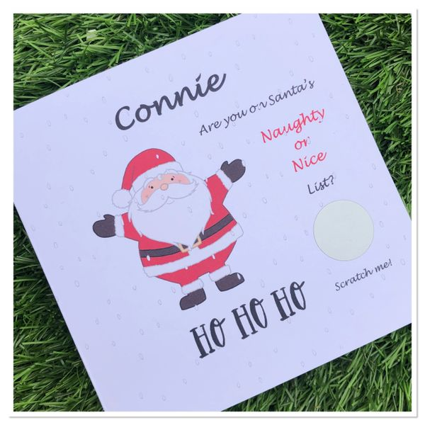 Santa's personalised Naughty or nice list scratch cards