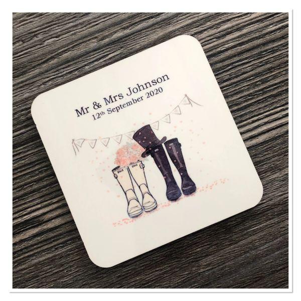 Mr & Mrs wedding coasters
