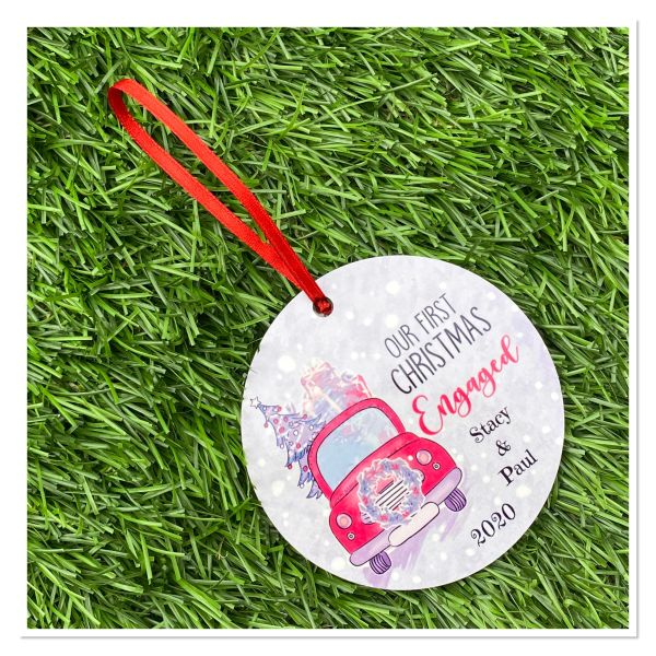Our first Christmas engaged personalised tree decoration