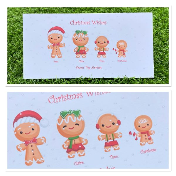 Gingerbread family Christmas cards up to 8 family members