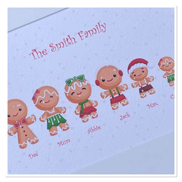 Gingerbread family print (A4 print only ) a maximum of 8 family members