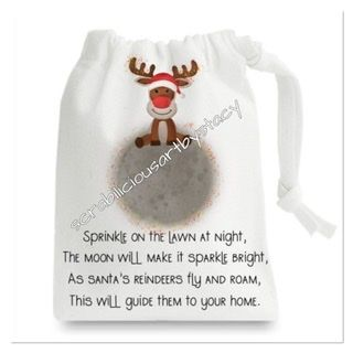 Magical reindeer dust pouches with name personalisation