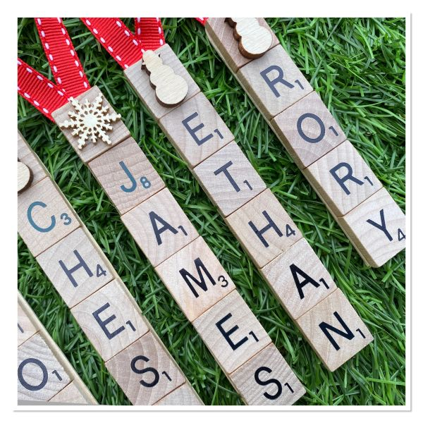 Personalised Scrabble tree decorations