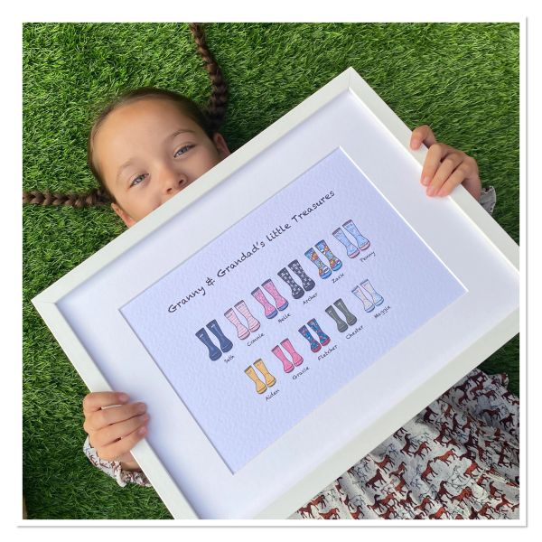 FRAMED larger family wellie print holds 7-14 family members with a MAXIMUM of 7 wellies per row