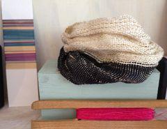 Hand woven in silver yarn - cuff style bracelet