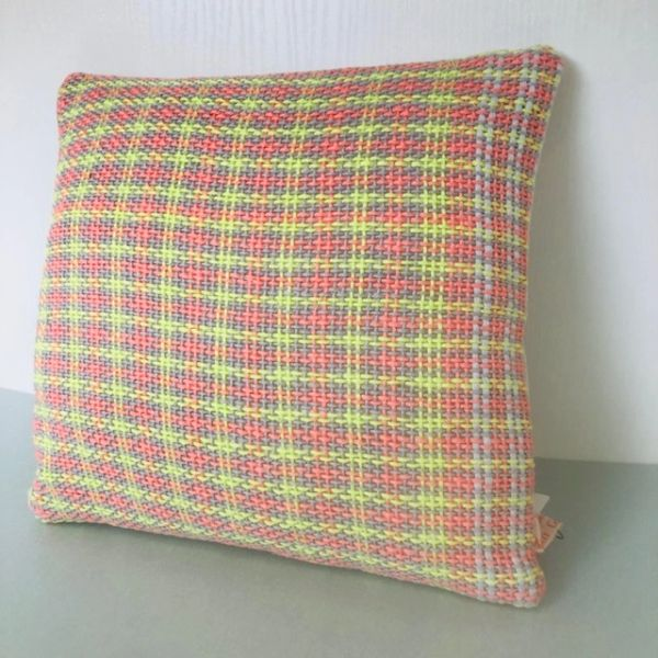 Handwoven accent cushion - small size - Orange check weave