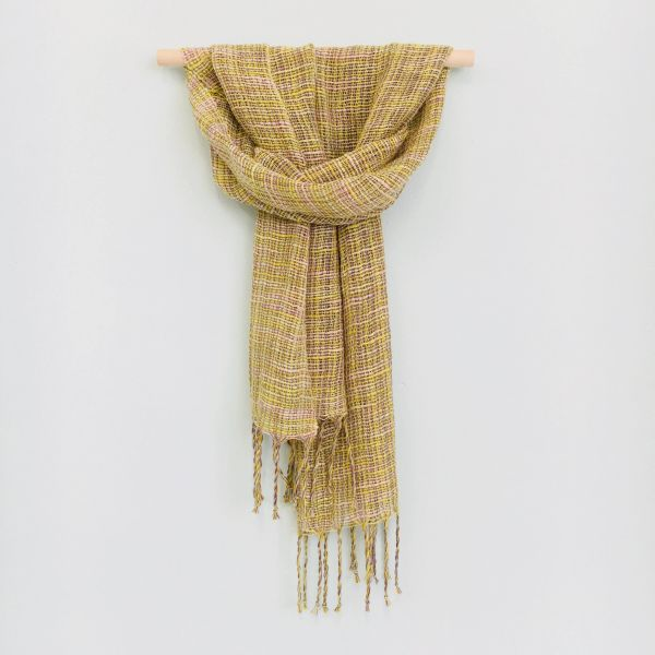 Pure cotton scarf made with hand-dyed yarns